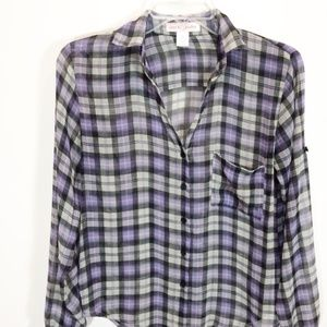 Band of Gypsies Purple Plaid Blouse Sheer